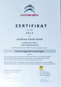 CITROËN-Zertifikat